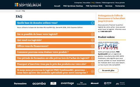 Screenshot of FAQ Page softdelirium.qc.ca - FAQ: Questions sur notre logiciel PME Symbiose | Softdelirium - captured Sept. 28, 2018