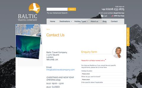 Screenshot of Contact Page baltictravelcompany.com - Contact | Baltic Travel Company - captured Dec. 29, 2015