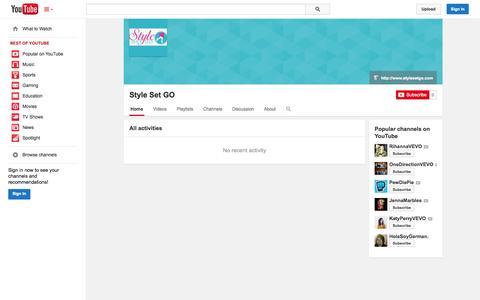 Screenshot of YouTube Page youtube.com - Style Set GO  - YouTube - captured Nov. 5, 2014