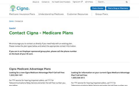 Screenshot of Contact Page cigna.com - Contact Cigna | Cigna - captured Oct. 9, 2019
