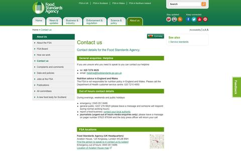 Screenshot of Contact Page food.gov.uk - Contact us | food.gov.uk - captured Nov. 3, 2014