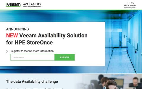Screenshot of Landing Page veeam.com - Veeam Availability Solution for HPE StoreOnce by Avnet - captured Dec. 6, 2016