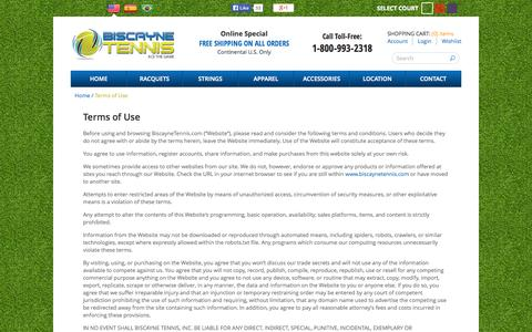 Screenshot of Terms Page biscaynetennis.com - Terms of Use - captured Sept. 30, 2014