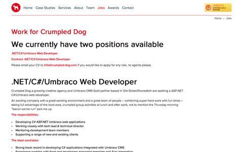 Screenshot of Jobs Page crumpled-dog.com - Work for Crumpled Dog : Crumpled Dog - captured May 23, 2017