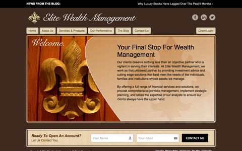 Screenshot of Home Page Site Map Page elitewm.com - Elite Wealth Management - captured Oct. 2, 2014