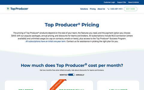Screenshot of Pricing Page topproducer.com - Top Producer ® Pricing & Product Information | Top Producer® - captured Nov. 10, 2019