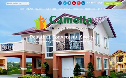 Screenshot of Home Page camella.com.ph - Camella | All That You Need is Here.  Camella, the flagship brand of Vista Land & Lifescapes Inc., that delivers excellent service by providing beautiful, high-quality homes for the affordable and mid-income segment of the market. - captured Dec. 6, 2015