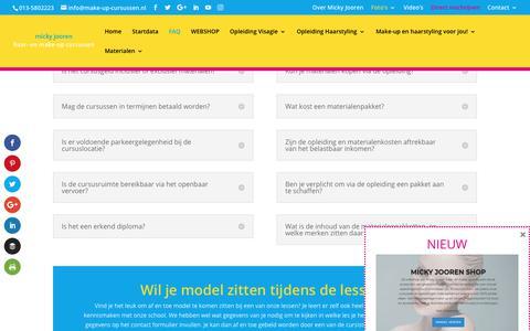 Screenshot of FAQ Page visagie-opleidingen.nl - FAQ | Micky Jooren Haar- en Make-up Cursussen - captured Oct. 18, 2018