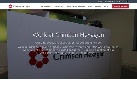Screenshot of Jobs Page crimsonhexagon.com - Social listening platform | Careers | Crimson Hexagon - captured May 11, 2017