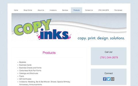 Screenshot of Products Page copyinks.net - Products - Copy and Print Services Copy Inks Stoughton Massachusetts - captured Sept. 30, 2014