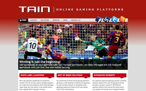 Screenshot of Home Page tain.com - TAIN » Online Gaming Platforms - captured Sept. 24, 2014