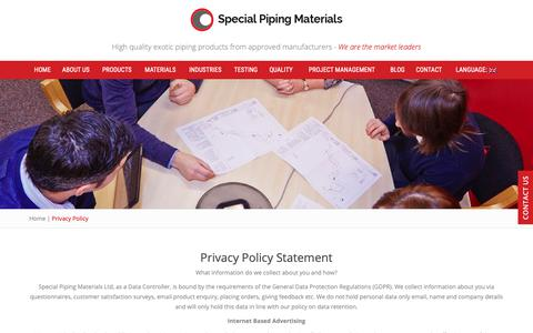 Screenshot of Privacy Page specialpipingmaterials.com - Privacy Policy Statement | Special Piping Materials - captured Oct. 19, 2018