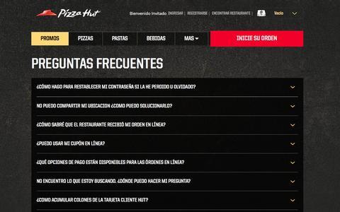 Screenshot of FAQ Page pizzahutcr.com - Pizza Hut - Cupones para pizza, ofertas de pizza, entrega de pizza, ordene pizza en línea, catering - captured Sept. 10, 2016