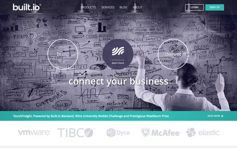 Screenshot of Home Page built.io - Built.io – Build mobile apps fast, Connect your digital business, Deliver content everywhere - captured Aug. 29, 2015