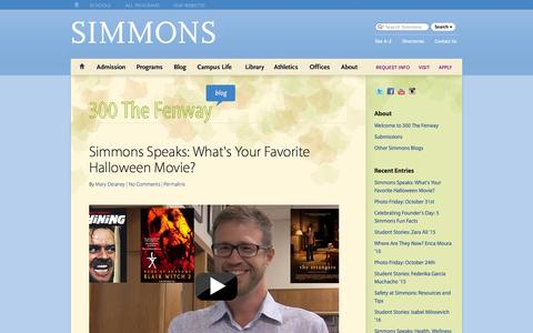 Screenshot of Blog simmons.edu - 300 The Fenway Blog : Simmons College in Boston, Massachusetts - captured Oct. 31, 2014