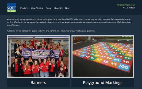 Screenshot of Home Page signetsigns.co.uk - School & Business Signs, School Thermoplastic Playground Markings, Signboards - captured Dec. 31, 2017
