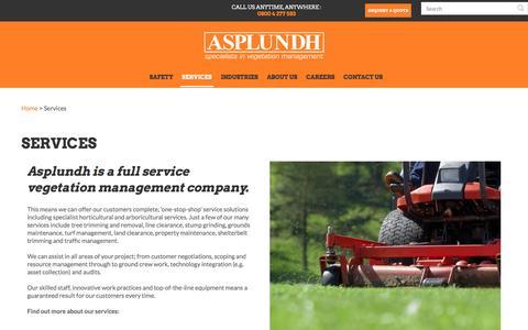 Screenshot of Services Page asplundh.co.nz - Asplundh NZ | Job Asset Management System - captured Nov. 21, 2016