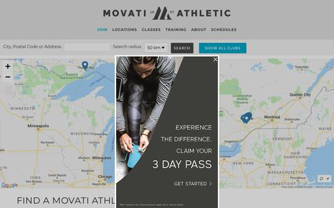 Screenshot of Locations Page movatiathletic.com - Fitness Clubs Near Me | Movati Athletic - captured Dec. 18, 2018