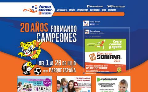 Screenshot of Home Page formasoccer.com - Forma Soccer - El mejor Curso de Verano deportivo de México - captured Sept. 30, 2014