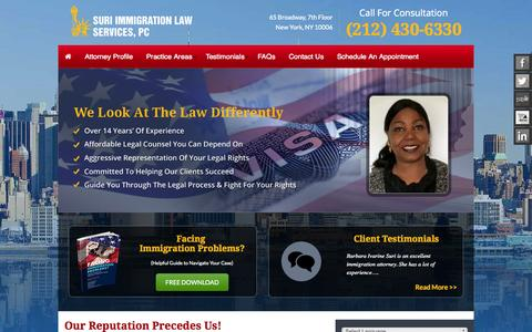 Screenshot of Home Page surilaw.com - United States Immigration Attorney | Suri Immigration Law Services, PC - captured June 19, 2015
