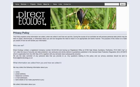 Screenshot of Privacy Page directecology.co.uk - Privacy Policy | - captured Nov. 14, 2018