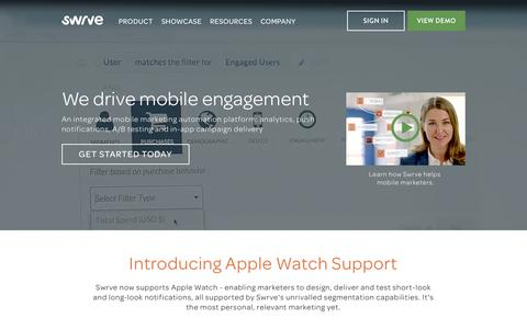 Screenshot of Home Page swrve.com - Swrve - Mobile Marketing Automation : Analytics, A/B Testing, In-App Campaigns, Push Notifications - captured June 17, 2015