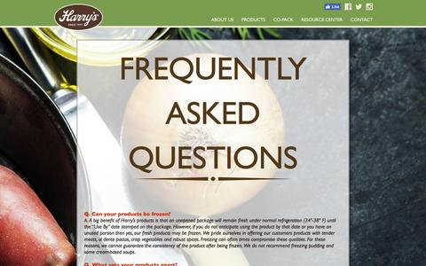 Screenshot of FAQ Page harrysfresh.com - Frequently Asked Questions - Harry's Fresh Foods - captured Oct. 27, 2016