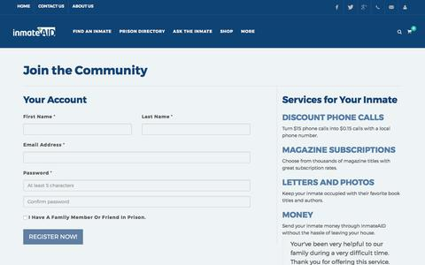 Screenshot of Signup Page inmateaid.com - Help for Inmates Before, During and After Prison - captured July 7, 2017