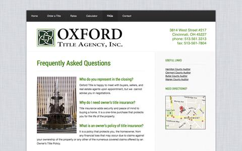 Screenshot of FAQ Page oxfordtitle.com - Frequently Asked Questions — Oxford Title Agency - captured Oct. 26, 2014