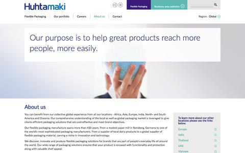 Screenshot of About Page huhtamaki.com - About flexible packaging - Huhtamaki Group - captured Oct. 9, 2016