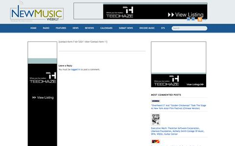 Screenshot of Support Page newmusicweekly.com - Contact us - captured Oct. 26, 2014