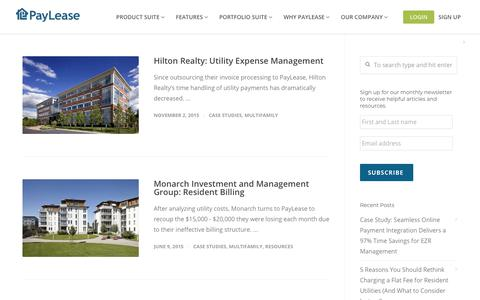 Screenshot of Case Studies Page paylease.com - Multifamily | PayLease - captured Aug. 4, 2018
