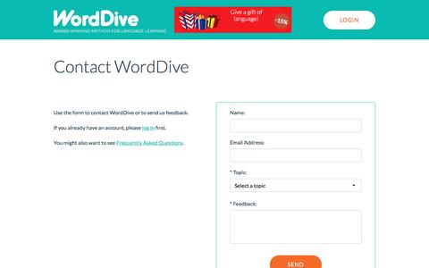 Screenshot of Contact Page worddive.com - Contact WordDive - captured Nov. 30, 2016