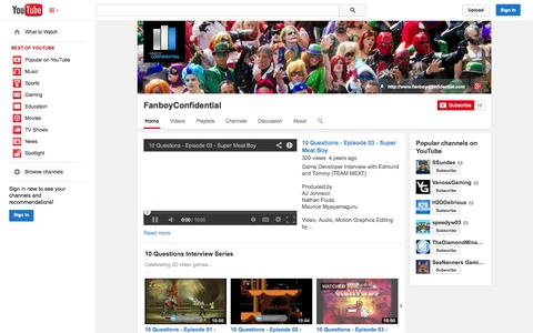 Screenshot of YouTube Page youtube.com - FanboyConfidential  - YouTube - captured Oct. 23, 2014