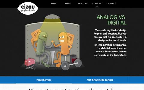 Screenshot of Services Page eizougraphic.com - EIZOU | Jakarta Based Graphic Design & Web Developer - captured Oct. 2, 2014