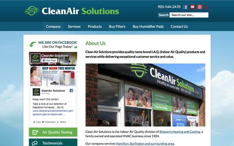 Screenshot of About Page cleanairsolutionshamilton.ca - About Us | Clean Air Solutions - captured Nov. 21, 2017