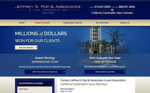 Screenshot of Contact Page poplawyer.com - Contact Us | California Catastrophic Injury Attorney - captured Oct. 4, 2014