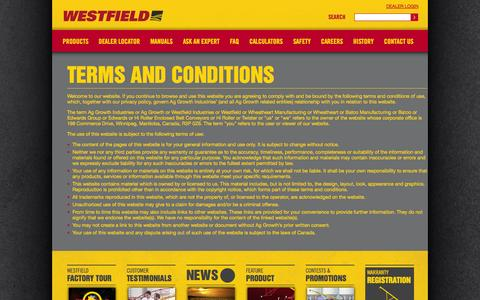 Screenshot of Terms Page grainaugers.com - - Terms and Conditions - captured Oct. 26, 2014