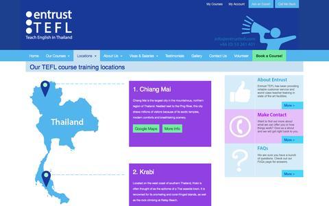Screenshot of Locations Page entrusttefl.com - Entrust TEFL | TEFL Teacher Training Loctions - captured Sept. 30, 2014