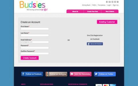 Screenshot of Signup Page budsies.com - Create New Customer Account - captured Sept. 23, 2014