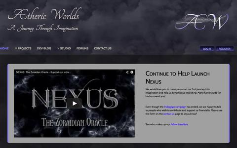 Screenshot of Home Page aethericworlds.com - Aetheric Worlds - Home - captured Oct. 4, 2014