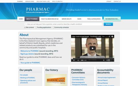 Screenshot of About Page pharmac.health.nz - About  | PHARMAC - captured Nov. 1, 2014