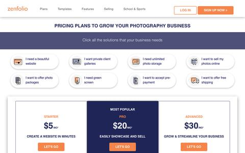 Screenshot of Pricing Page zenfolio.com - Pricing plans for photography websites. Sell your work at Zenfolio - captured Aug. 31, 2019