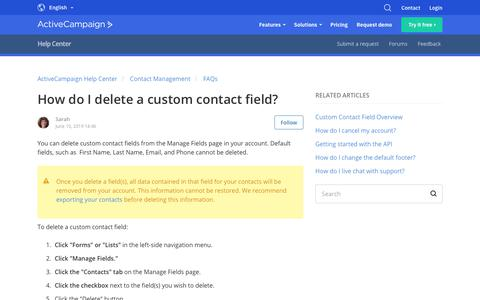 Screenshot of Support Page activecampaign.com - How do I delete a custom contact field? – ActiveCampaign Help Center - captured June 18, 2019