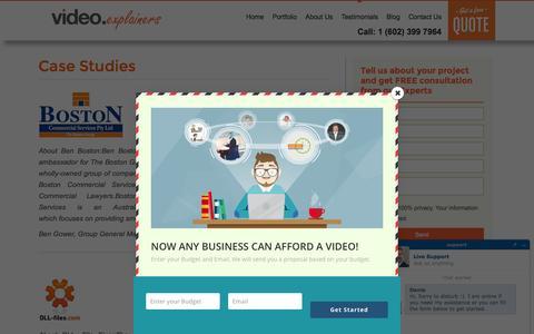 Screenshot of Case Studies Page videoexplainers.com - Case Studies - Video Explainers - captured Feb. 23, 2016
