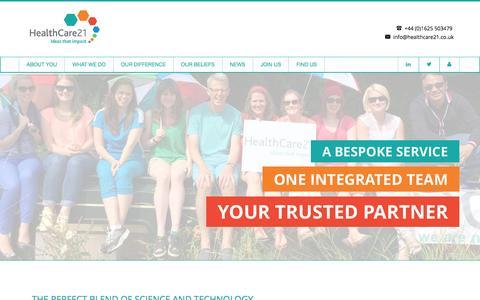 Screenshot of Home Page healthcare21.co.uk - HealthCare21- Medical Communications Agency - captured Jan. 27, 2016