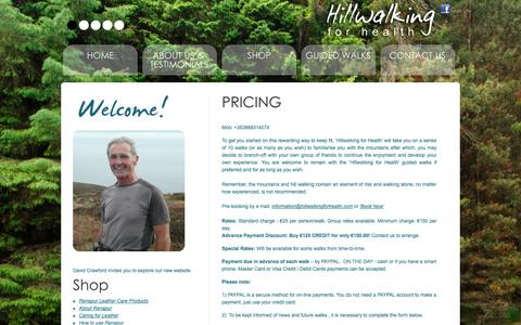 Screenshot of Pricing Page hillwalkingforhealth.com - PRICING - captured Sept. 30, 2014