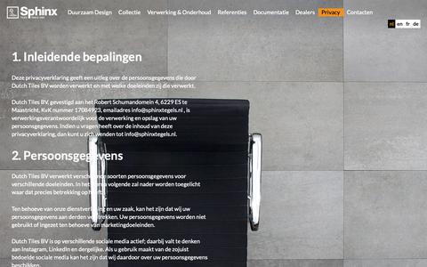 Screenshot of Privacy Page sphinxtegels.nl - Privacy - captured Oct. 9, 2018