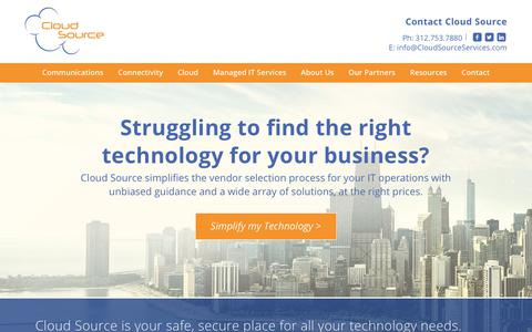 Screenshot of Home Page cloudsourceservices.com - Cloud Source - Communications, Cloud, & Connectivity Technology Consulting - Chicago, IL - captured Aug. 5, 2017