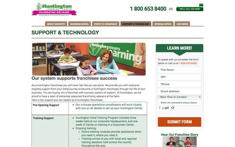 Screenshot of Support Page huntingtonfranchise.com - Tutoring & Test PrepFranchise Business Support   Huntington Franchise System - captured Aug. 14, 2017